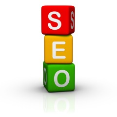 SEO spelled out in child's blocks