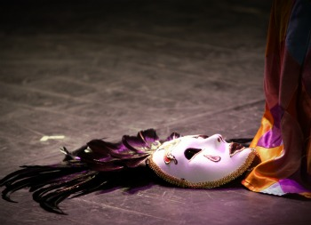 Venetian Carnival Mask on Stage Floor