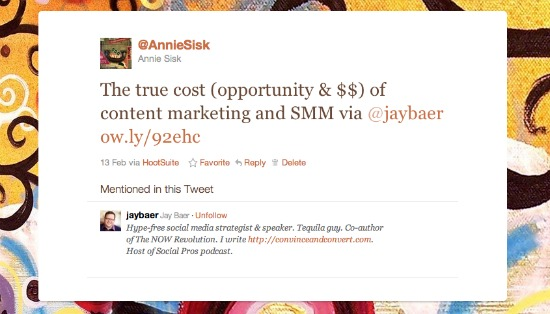 Twitter screenshot of Annie Sisk tweet on Jay Baer post