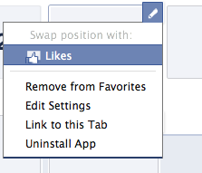 Screenshot of App Editing Options in Facebook Timeline