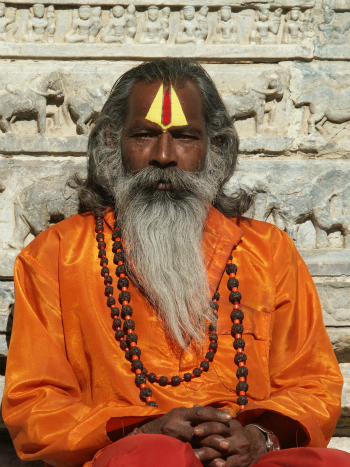 Indian Sadhu in Orange Robes