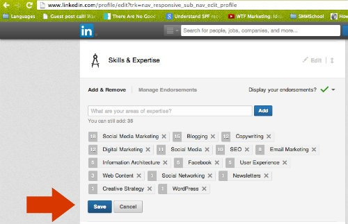 Screenshot - Saving Changes to LInkedIn Profile Skills