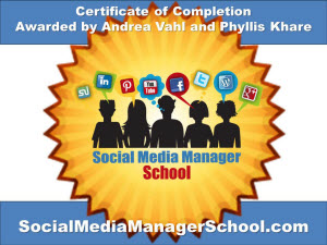 Certification of Completion for Social Media Manager School