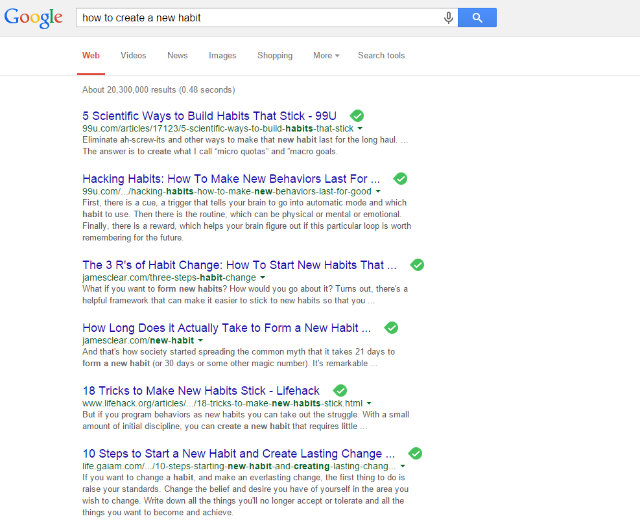 "Screenshot of Google results for search ""how to create a habit"""