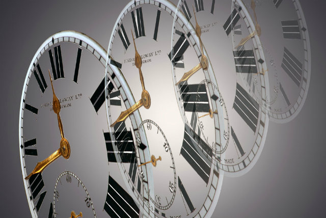 Three clock faces
